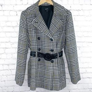Houndstooth Belted Pea Coat